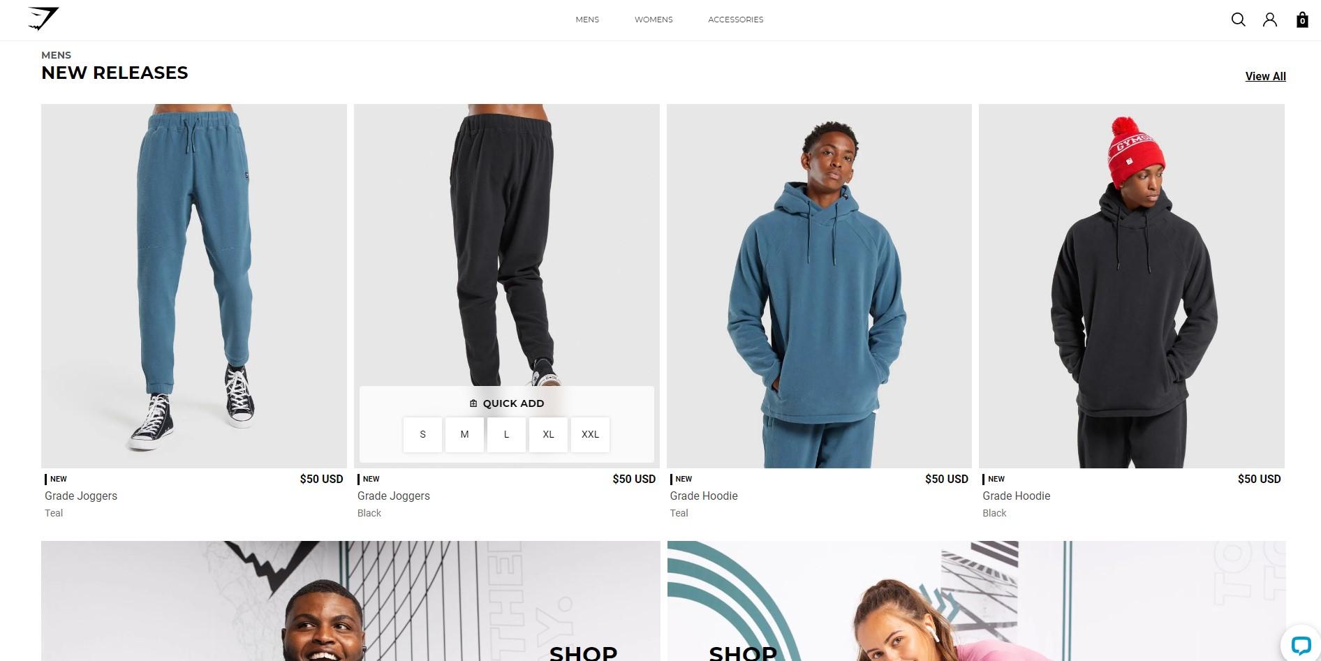 Gymshark webshop shopify